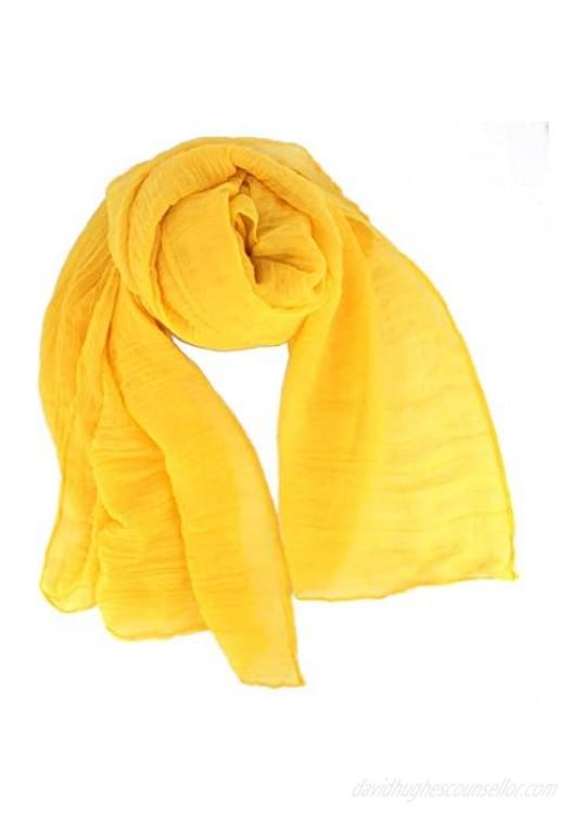 Women Pure Color Soft Cotton Hemp Silk Infinity Scarf Travel Sunscreen Pashmina Shawl Long Big Scarves