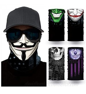 [5 Pack] Neck Gaiter Face Mask Bandanas  UV Protection Windproof Face Cover  for Motorcycle Cycling Riding Running Headbands