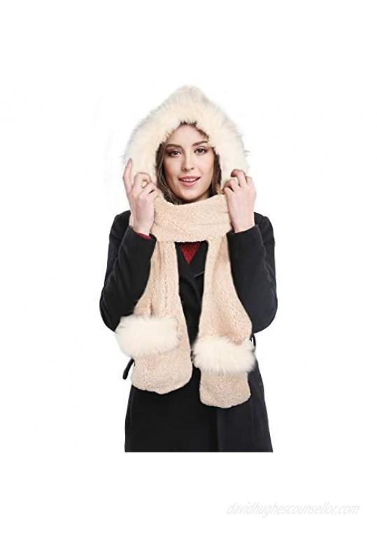 Bellady Soft Winter Warm Hooded Scarf Headscarf Neckwarmer Hoodie Hat