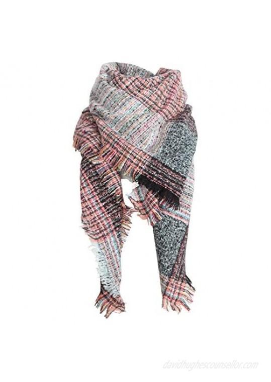 Nakerfop Womens Scarves Fall Winter Scarfs Warm Plaid Blanket Scarf Soft Cozy Wrap Fashion Shawl Gift Ideas