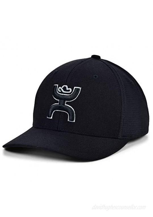 HOOEY Ash Black 6-Panel Flexfit Hat w/Black and Grey Logo