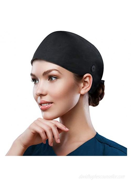 QBA Adjustable Working Cap with Button Cotton Working Hat Sweatband Elastic Bandage Tie Back Hats for Women & Men One Size