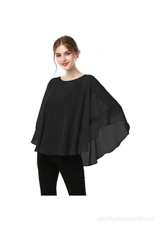 Capes for Womens Casual chiffon shawl Casual Chiffon Cape Sheer cape shawls and wraps Poncho Capelets Cover Up