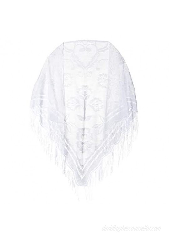 CAPTAIN Fine Soft Lace Shawl Wrap Leaf Designed Scarf Cape Poncho with Fringes For Women