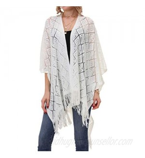 Knit Shawl Wrap for Women - Soul Young Ladies Fringe Knitted Poncho Cardigan Cape