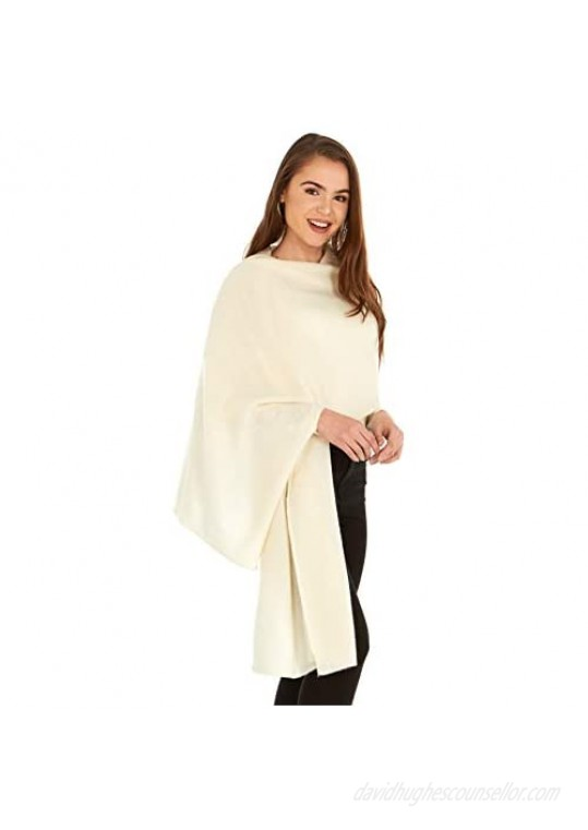 Manio Cashmere 100% Cashmere Knitted Wrap Shawl Extra Large Scarf Stole