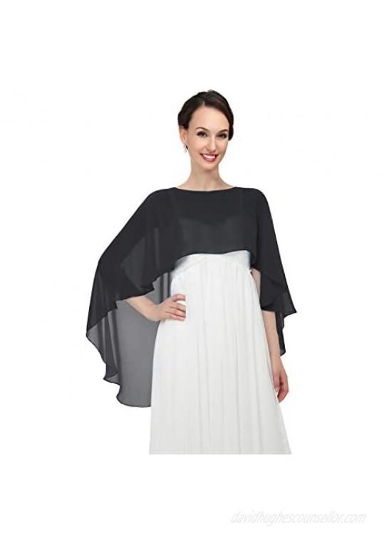 Pukguro Chiffon Wrap Shawls Capes for Evening Dresses Wedding Bridal Bolero Shawl Wraps for Women