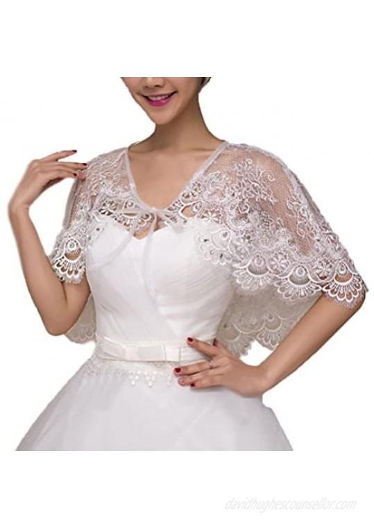 Vivivalue Lace Wedding Wrap Shrug Shawls Stole Boleros Cape Capelet Rhinestone Bride