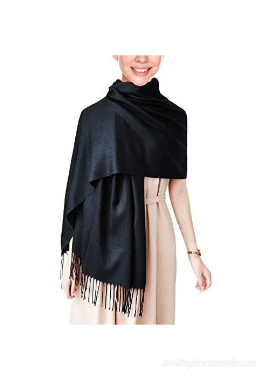 """Wapodeai Pashmina Scarf Premium Large Scarf Women Scarves Suitable for Spring  Summer  Autumn and Winter78.75""""x27.6""""Black"""