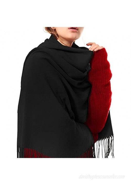Womens Thick Soft Cashmere Wool Pashmina Shawl Wrap Scarf - OHAYOMI Warm Solid Color Stole