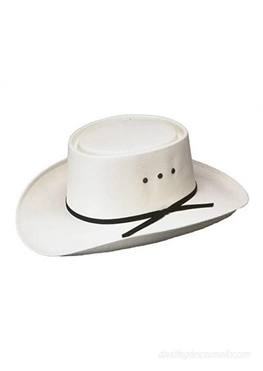 Western Paso Fino San Jose Gambler Hat Straw White Made in Mexico (Elastic S/Md)