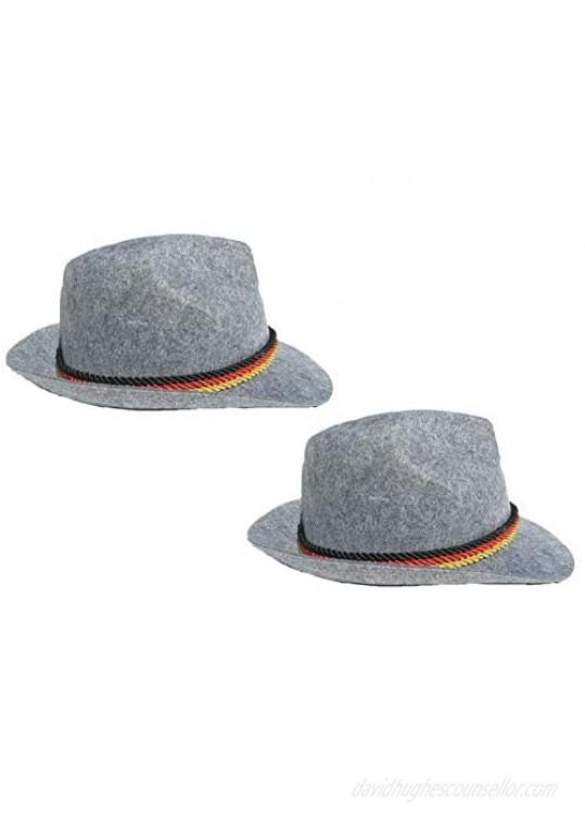 2 Pack German Alpine Hat Alpine Fedora Brown