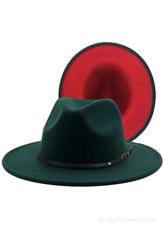 Eric Carl Men & Women Wide Brim Fedora Hat with Belt Buckle Two Tone Felt Panama Hat