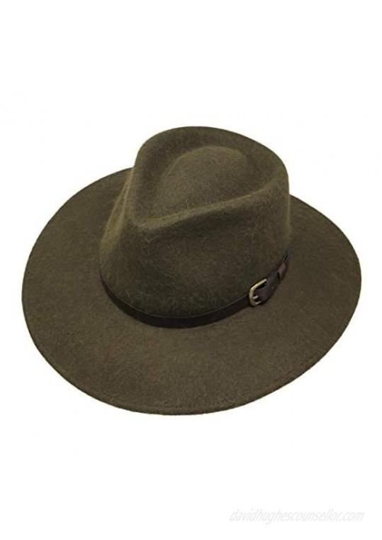 Premium Alpaca Lewis - Wide Brim Fedora Hat - Alpaca Wool Felt - Water Resistant - Leather Band