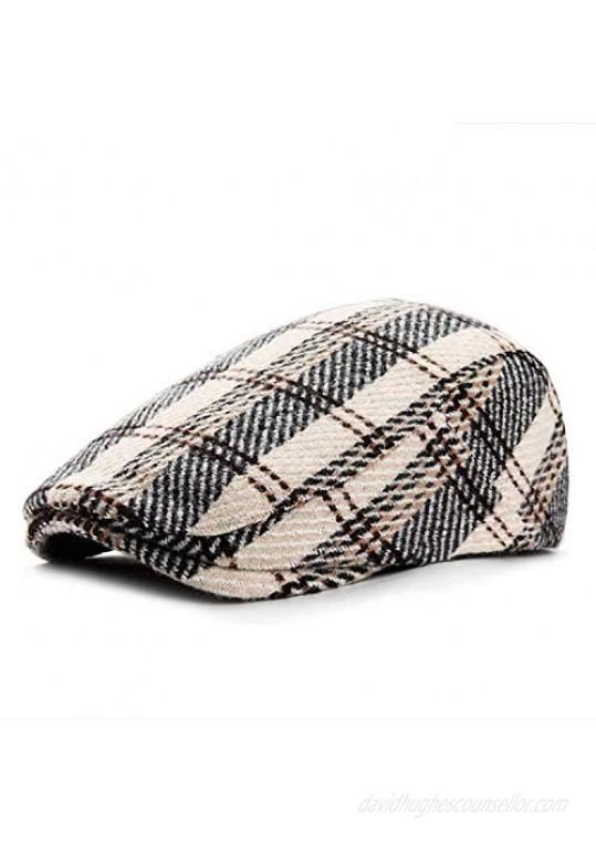 Croogo Mens Plaid Ivy Newsboy Hat Winter Duckbill Hat Wool Blend Herringbone Hat Gatsby Beret Flat Hat Cap