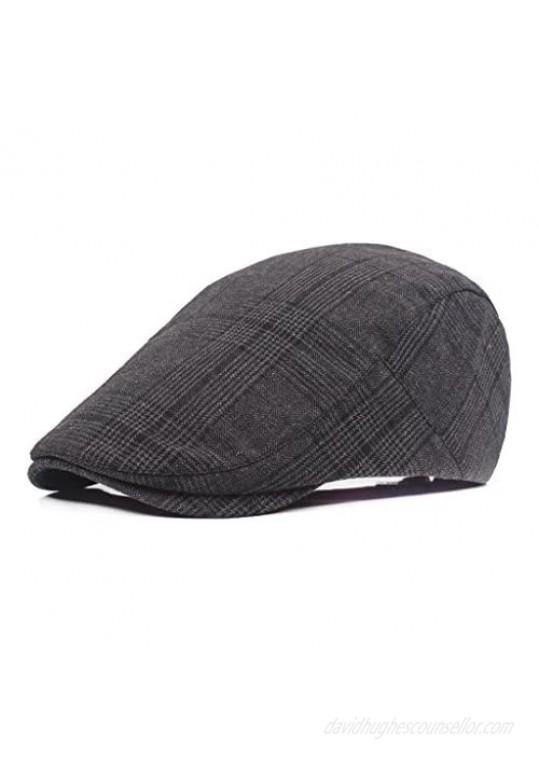 ZLSLZ Men's Unisex Cotton Plaid Newsboy Ivy Irish Cabbie Beret Golf Cap Hat