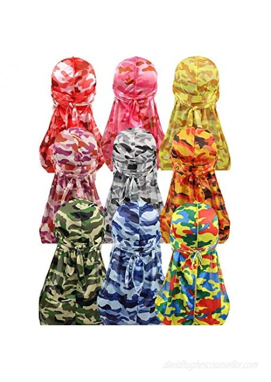 ALIDIA 4 Pieces Extra Long Tail Wide Straps Silky Camouflage Durag for Men 360 Waves