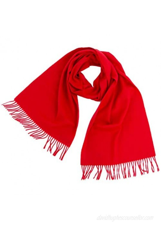 Cashmere 4 U - 100% Cashmere Winter Scarf for Men Woman Solid Colour with Fringes