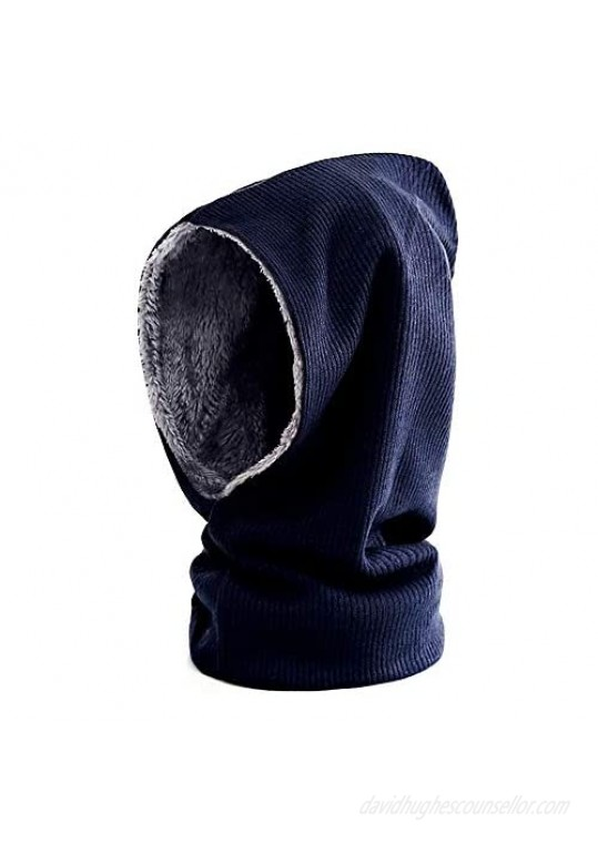 GERINLY Solid Color Hooded Scarf Knitted Infinity Scarf with Beanie Hat Pullover Running Hat for Winter