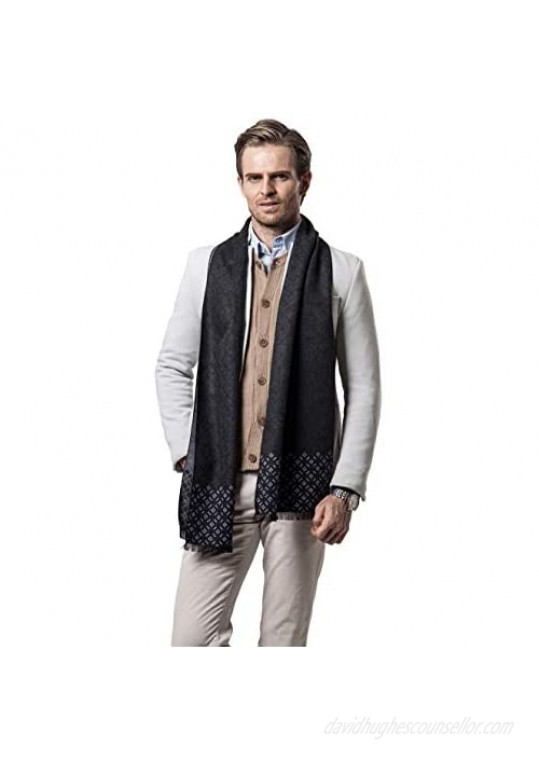 Longwu Mens Winter 100% Cashmere Scarf - Fashion Classic Plaid Formal Soft Scarves for Men