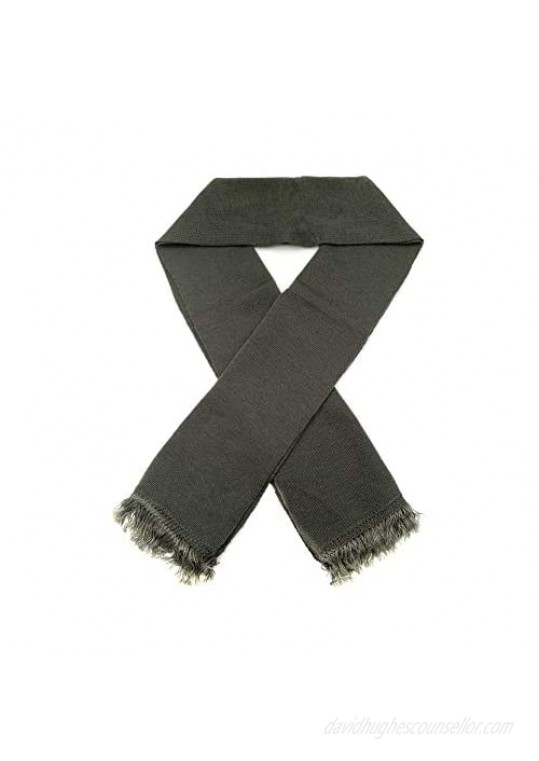 Seyrue Russian Army Wool Tassel Short Green Scarf for Autumn and Winter